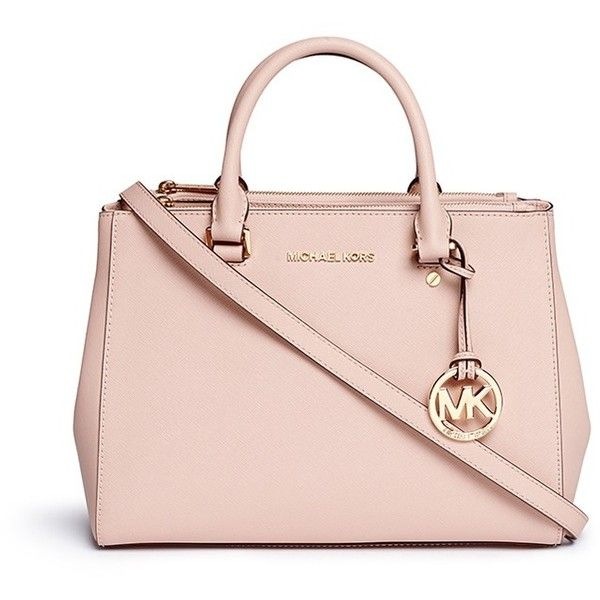 Michael Kors 'Sutton' medium saffiano leather satchel found on Polyvore featuring bags, handbags, purses, pink, michael kors bags, pink satchel purse, saffiano leather satchel, structured satchel handbag and michael kors purses
