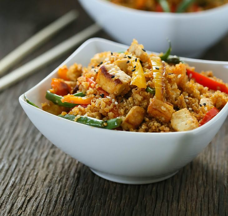 Vegetarian dirty Thai fried quinoa Recipe Main Dishes with quinoa, pepper, fresh green beans, extra firm tofu, fresh ginger, olive oil, sesame seeds, soy sauce, red curry paste