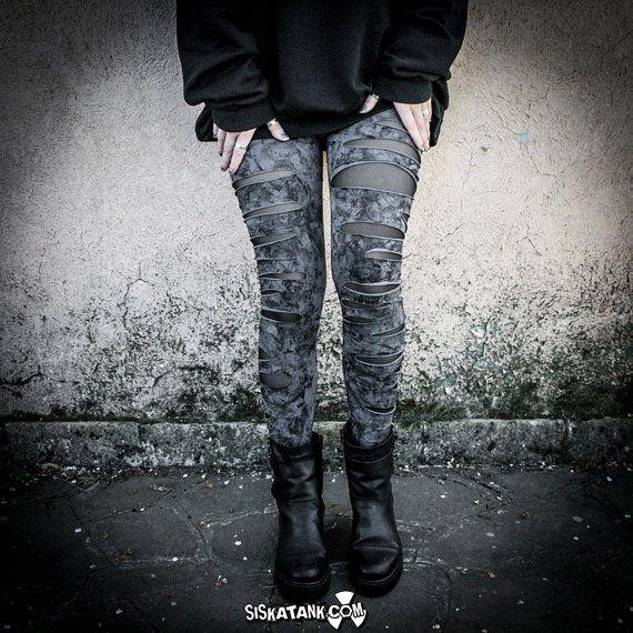 BROKEN  Grey Black Distressed Leggings Post by siskatank on Etsy