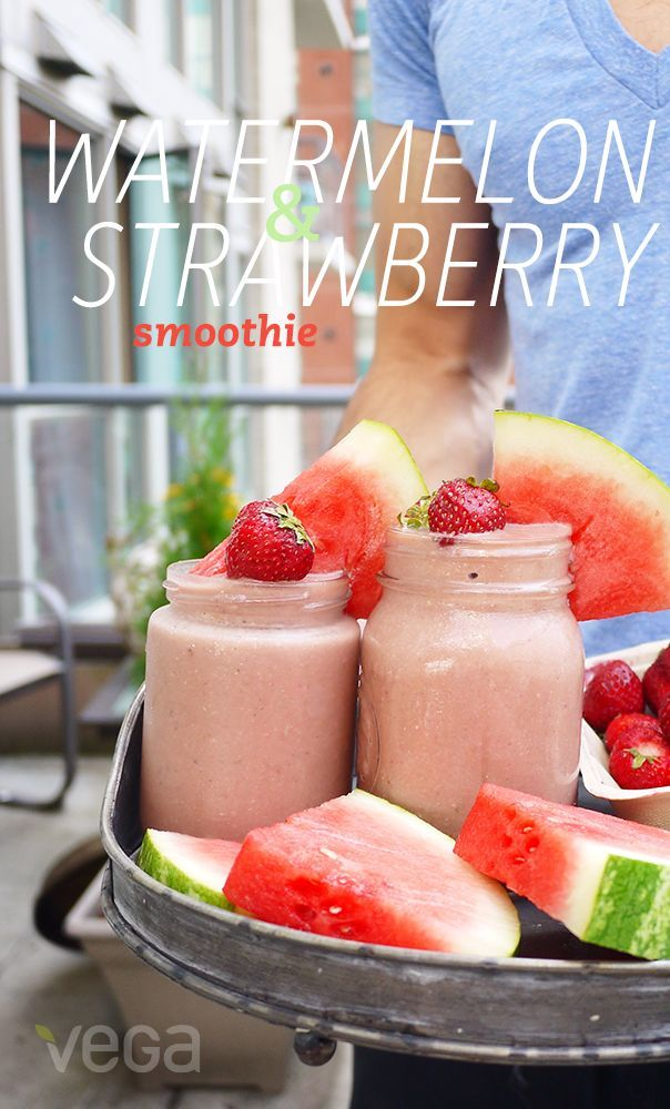 Watermelon & Strawberry Smoothie: This sweet and fruity Watermelon & Strawberry Smoothie from Erin Ireland tastes like a splurge, but with Vega One French Vanilla, a touch of maple syrup and fruit as its sweetener, your sugar radar can rest easy. #VegaSmo