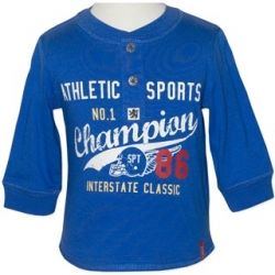 Sporty long sleeve t-shirt with cute mock-button press-stud detail on the neckline. Sizes 0, 1 & 2.