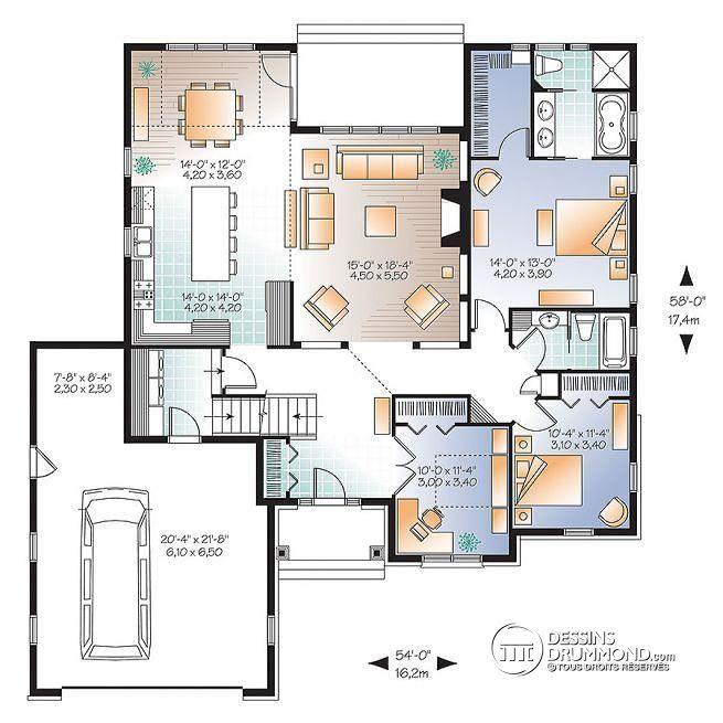 Plan de Rez-de-chaussée Maison style Américaine, 2 à 3 chambres, bureau à domicile, garage double - Châtaignier 3