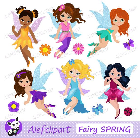 Cute Fairies Fairy Clipart commercial use Digital Clip art Instant Download