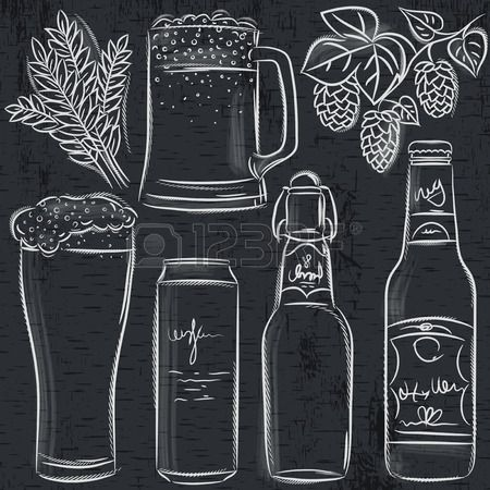 set of beer bottle on blackboard, vector