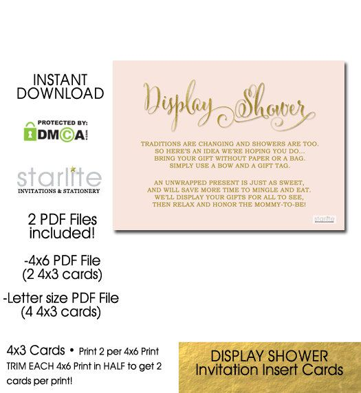 Display Shower Card, Baby Shower Invitation Girl Insert Printable Card, Pink   Gold Shower 4x3 Card, Unwrapped Gifts, INSTANT DOWNLOAD