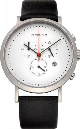 Herreklokke med kronograf fra Bering. Safirglass og urkasse av rustfritt stål. Ultra slim design. #bering #klokke #ur #herreklokke #kronograf #safirglass #zendesign
