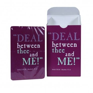 Pack of playing cards with Shakespeare Macbeth quote, exclusive to the Bodleian Library shop. £5.50 per pack.