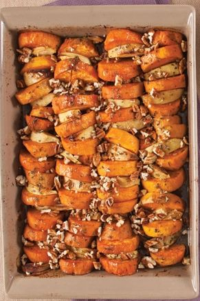 ROASTED SWEET POTATOES AND APPLES  2 Granny Smith apples, peeled, cored, and cut into 1/2-inch-thick wedges 1 tablespoon fresh lemon juice 4 medium sweet potatoes, peeled 6 ta...