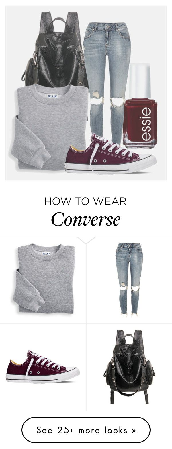 """""""Something that I always do"""" by my-big-brown-eyes on Polyvore featuring Essie, Blair, River Island and Converse"""