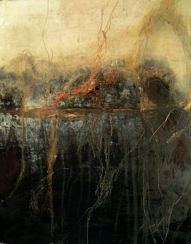 "Jeane Myers | Junction | encaustic mixed media on board 12""x12"""