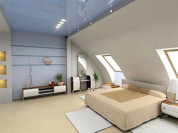 modern bedroom in the attic