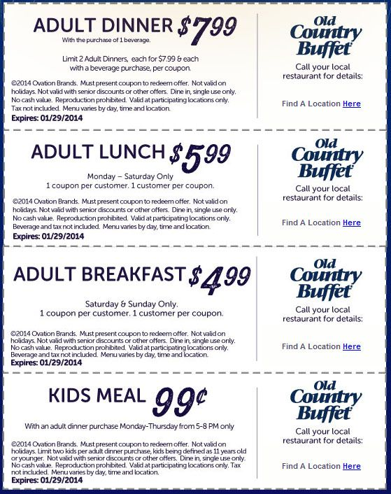 Old Country Buffet: Various Printable Coupons http://www.pinterest.com/AnnaCoupons/old-country-buffet-coupons/