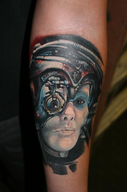 Cyborg tattoo by Matt Driscoll, full time artists at Off the Map Tattoo New England. #tattoo #tattoos #mattdriscoll #offthemaptattoo #massachusettstattoo #cyborg #cyborgtattoo #portraittattoo