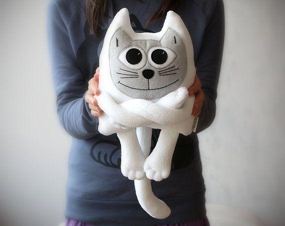 Weiße Fleece Katze liebenswert weiches Plüschtier von ecotule