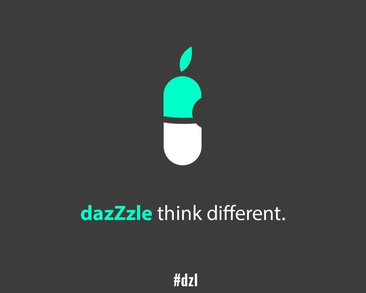 [DÉTOURNEMENT] dazZzle, think different. #dzl #apple #iPhone #pub #veille #détournement #ad #illustration #slogan #publicitaire #minimalist #media #brand #white #black #gray #green #design #light #pill #rules #inspiration