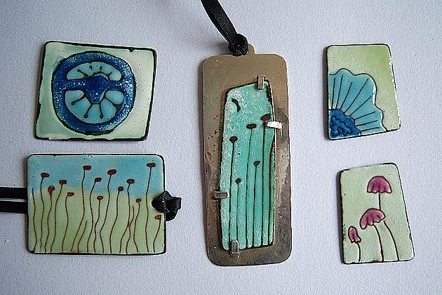Drawing into Enamel [Enamelled copper.] by Ashley Heminway,