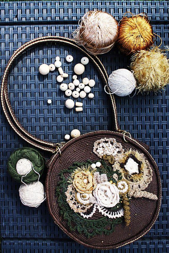 Brown Round Medium Crochet Purse Women's Eco Friendly
