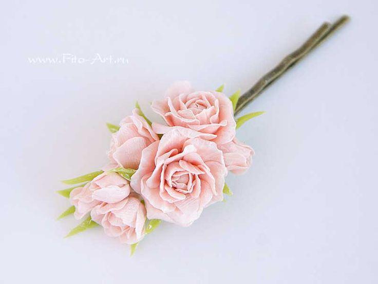Невидимка с мини-розами. Полимерная глина. Екатерина Звержанская.