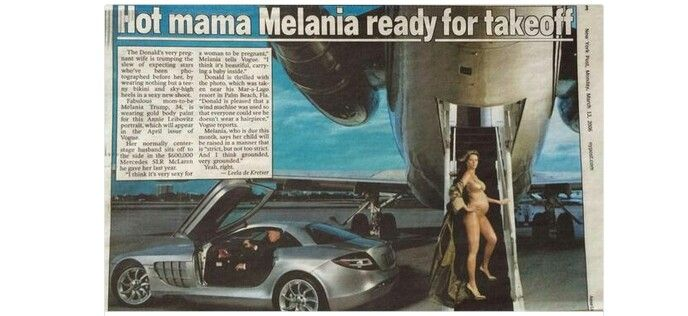 Melania exits Trump's plane au naturale & very pregnant. Meanwhile, Donald Trump waits for Melania in his sports car. Will she drive away with him, still barely dressed but  in her high heels? Like Cinderella in glass slippers.....but NOT