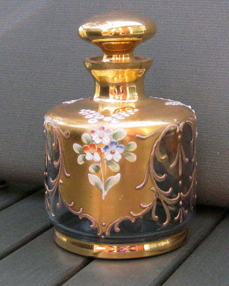 Vintage Bohemian Czech Glass Enamel Gold Perfume Bottle Moser | eBay