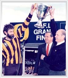 1989, Hawthorn 21.18 (144) d Geelong 21.12 (138).    Coach: Allan Jeans  Captain: Michael Tuck