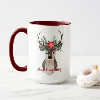 Merry Everything Watercolor Deer Antler Bouquet Mug - merry christmas diy xmas present gift idea family holidays