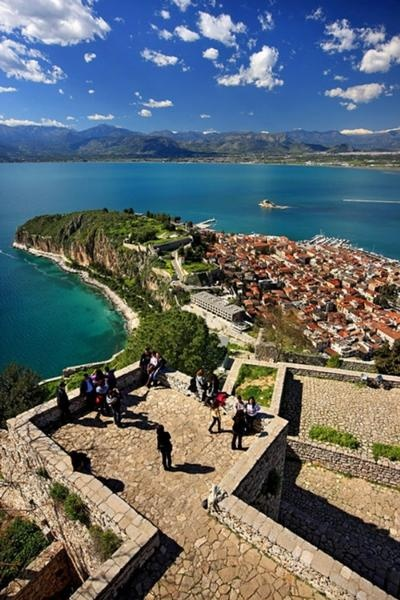 beautiful view of Nafplion Greece from the Palamidi castle