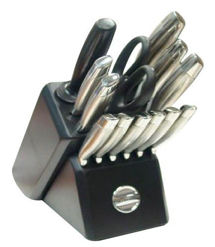 KitchenAid KA1SS14TB 14-Piece Stainless Steel Knife Set with Block by KitchenAid. $119.95. Ergonomically designed brushed stainless steel handles. Also includes black hardwood knife block, 6 steak knives, a sharpening steel, and a pair of kitchen shears. Hand washing recommended. High-carbon, stainless-steel blades; forged steak knife blades. 14-piece contemporary knife set includes 8-inch chef, 8-inch slicer, 7-inch santoku, 5-1/2-inch utility, and 3-1/2-inch pari...