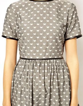 I think I need this...     ASOS PETITE Exclusive Jaquard Skater Dress With Cat Print