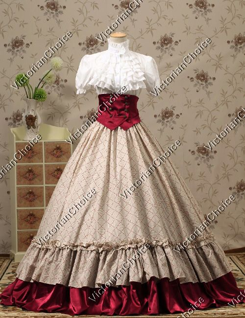 Victorian Gothic Dress Ball Gown Steampunk Halloween Stage Costume Reenactment