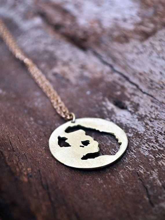 "Santorini Necklace / Summer In Greece Collection / Santorini Map Necklace / Greek Souvenir / Island Map Necklace With ""Santorini"" Engraving"