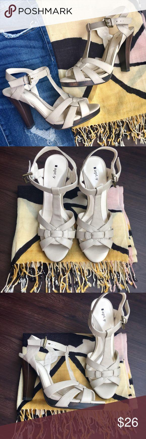 NEW Cream Heel Sandals New and never worn chunky heel sandals. Apt. 9 Shoes Heels