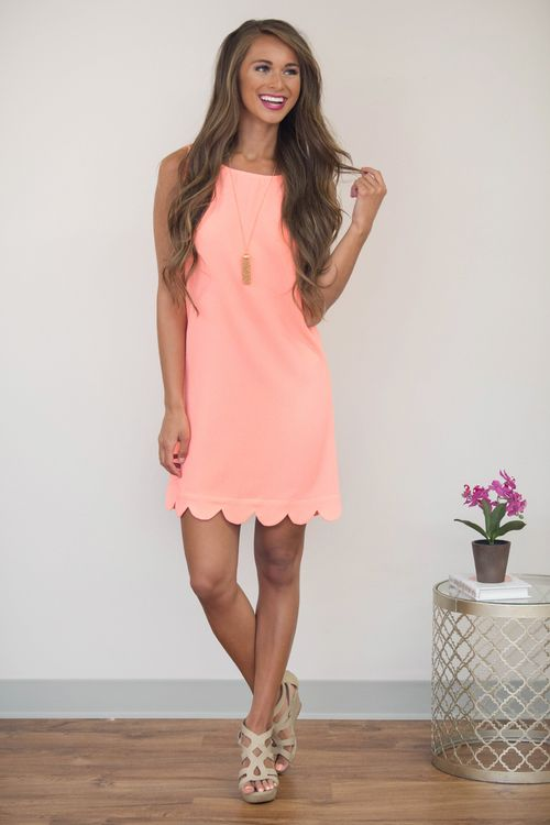 Bright Sunbeam Scalloped Dress Neon Coral - The Pink Lily