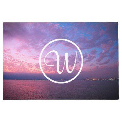 #Purple pink sunset photo custom monogram doormat - #doormats #home & #living