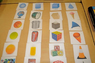 Printable solid shapes sort cards, use for calendar time.