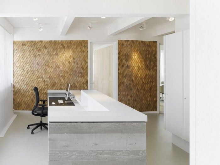 Brube B./Emmy B. Design Agency Offices - wood concrete texture reception desk