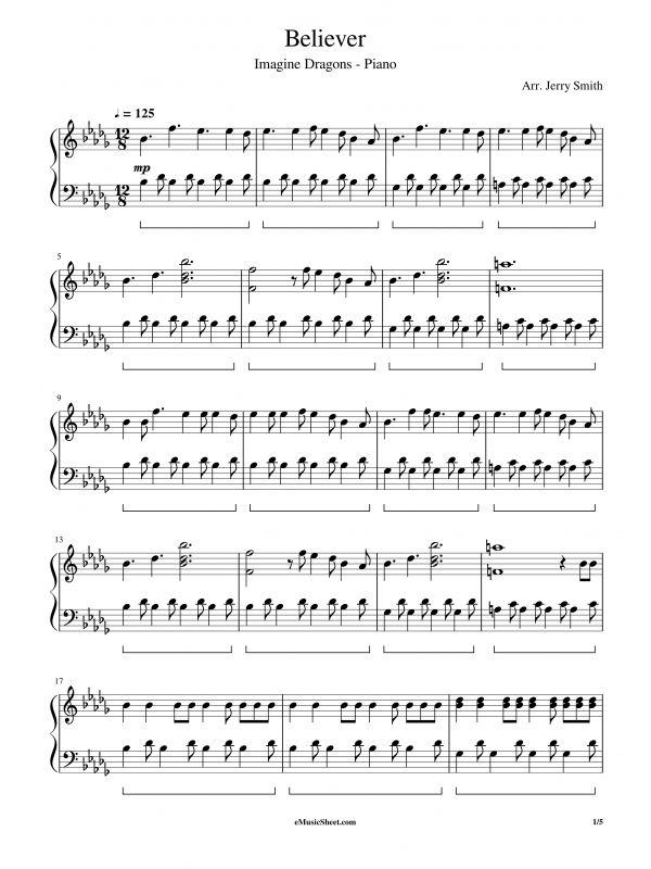 Imagine Dragons Believer Piano Imagine Dragons Piano Sheet Sheet Music