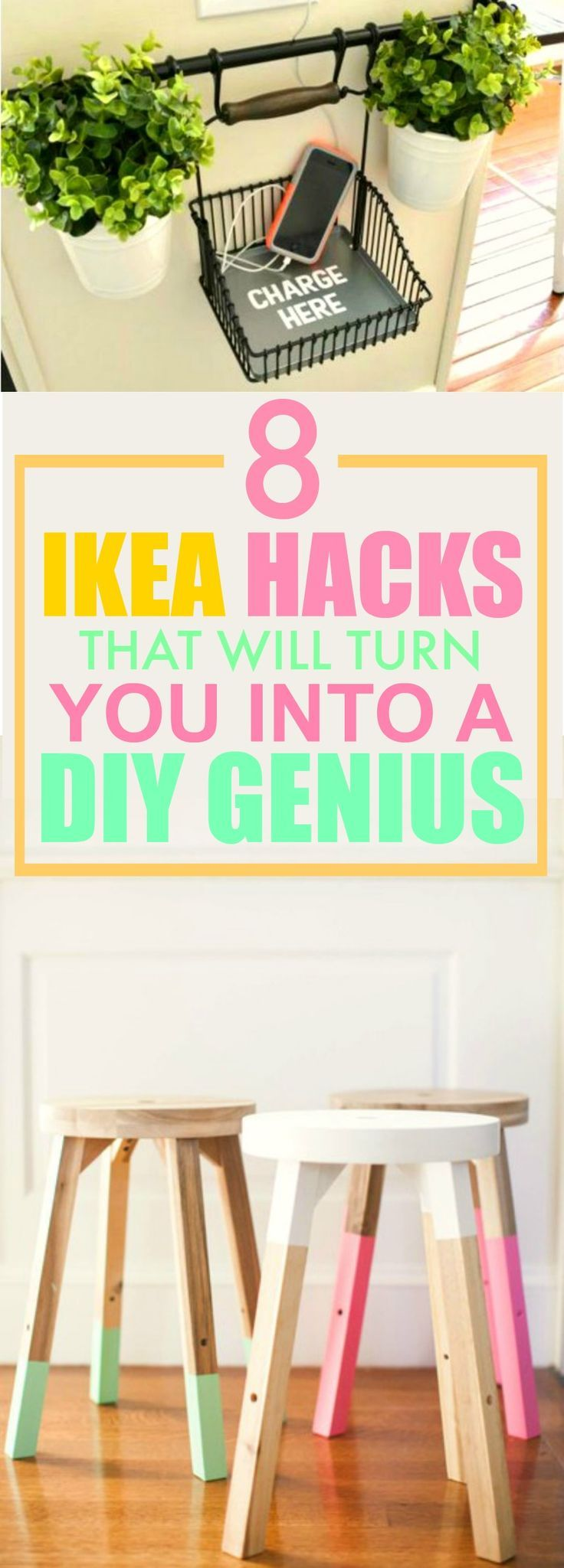 These 8 IKEA Hacks are THE BEST! I'm so glad I found this AWESOME post! I'm SO gonna try the 3rd one, it's so pretty! I'm definitely pinning for later!