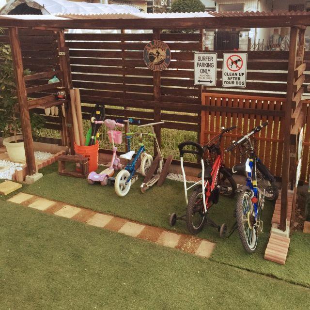 tomokiさんの、奈良に海を...,雑貨,男前,まだまだこれから,リメ缶,人工芝,自転車置き場DIY,ガレージ,玄関/入り口,のお部屋写真