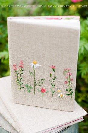 What a great idea. My sister would love this. Cross-Stitched Journal Cover by Christiane Dahlbeck