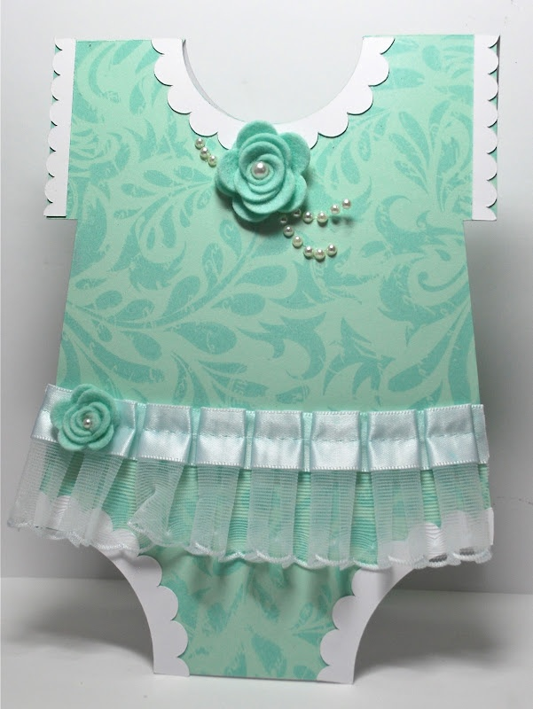 """Baby card I could make with any onesie cut from any Cricut cartridge (""""Everyday Pop-Up Cards"""" has a great one)"""