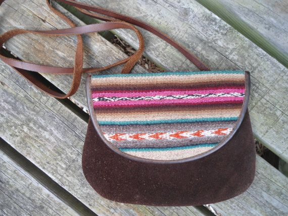 Small Clutch Purse Suede and Leather with a Southwest Flair Vintage Purse Hippie Style Crossover Purse by LandofBridget