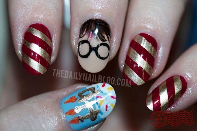 I'm not sure if y'all know this, but I'm a ginormous Harry Potter fan…and today, July 31, is his birthday!!    So bake a cake and break out those candles, because it's time to say Incendio! to go along with these nails! Click through for the full post and another photo! :)