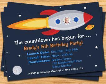 Rocket Ship Birthday Party Invitation by eventfulcards on Etsy                                                                                                                                                                                 Más