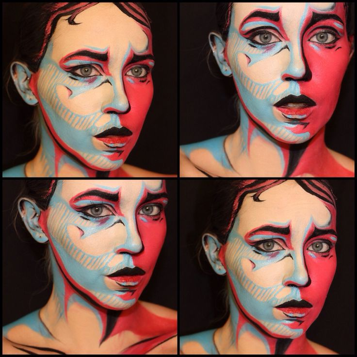 """""""A different sort of Comic Book Makeup!""""-Imgur It's all makeup. Her eyes reveal the illusion.-LKJ"""