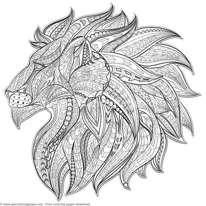 Patterned Zentangle Lion Coloring Pages Free Instant Download Coloring Coloringbook Coloringpages Lion Coloring Pages Dragon Coloring Page Zentangle Animals