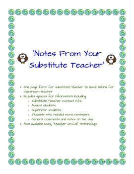 "FREEBIE!!!:  ""Notes From Your Substitute Teacher"" -- Substitute Teacher"