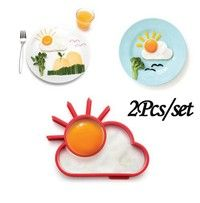 2Pcs/set Creative Breakfast Silicone Egg Moulds Cute Sun Cloud Skull Eggs Fried Frying Mould Diy Cooking Tools