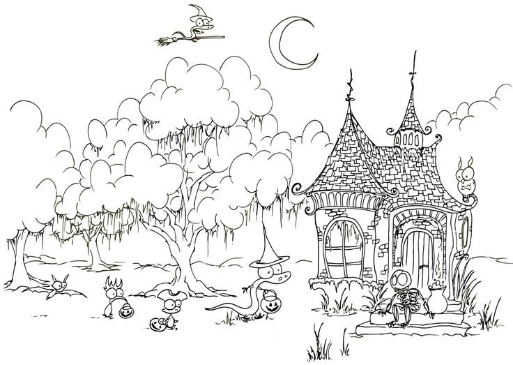 Ghost Haunting Printable Coloring Page Halloween Skeleton Haunted House