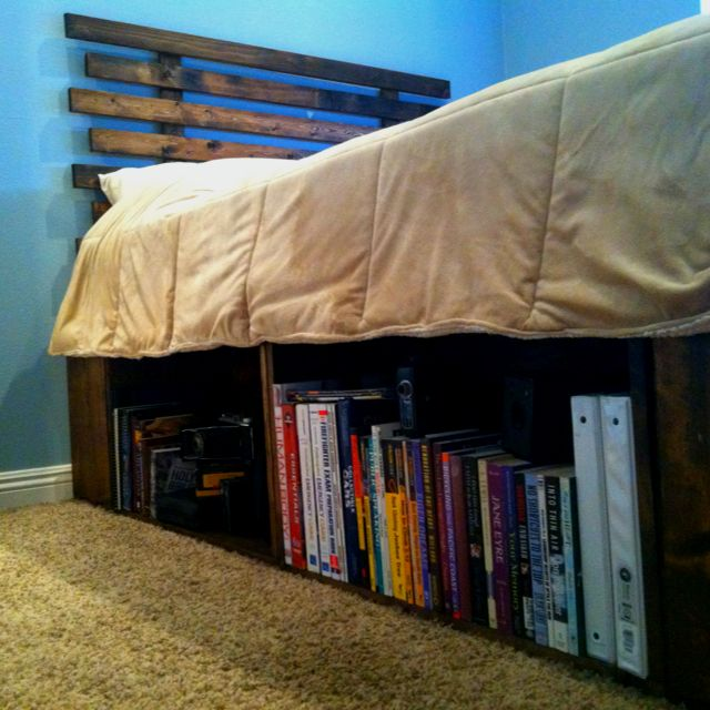 DIY bed frame and headboard. Using fruit crates for the base allowed for some nice bookshelves/storage area. Wood was stained walnut to give it that old fashioned look.  All in all, less than $100 for all materials.